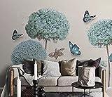 HHCYY Benutzerdefinierte 3D Tapete Europäischen Hortensien Schmetterling 3D Hintergrund Wal-350cmx245cm