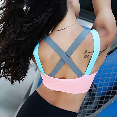 LXJ Sport-BHS, Yoga Push-Up-Sport-BH for Frauen Gym Yoga BH Lauf Padded Brassiere Sport Fitness Top-Behälter-Weste Stoß- Sport BH-Oberteil (Color : B, Size : M) - 5