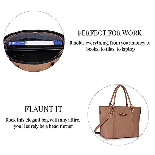 TrendStar Handtasche der Frauen faux Leder Damen Dekorative Bow Tie-Schulter-Beutel Schwarz/Weiß