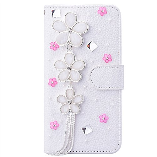 iPhone 7 Hülle, Yokata Luxury Flip PU Leder Case mit DIY Perle Schutzhülle Bling Glitzer 6D Cover Standfunktion und Kreditkarte Tasche Wallet Schutzhülle Blumen 2