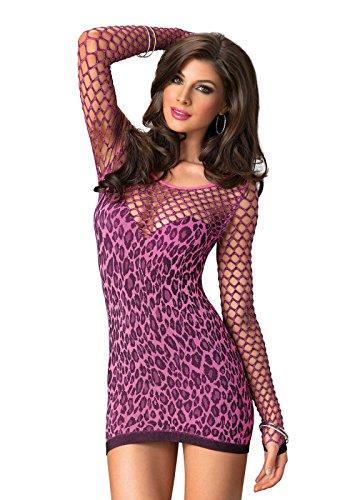 LEG AVENUE 86583 - Nahtlose Leopard Minikleid, fuchsia (Einheitsgröße) Fuchsia Leopard