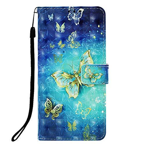 Abuenora Funda Libro para Xiaomi Redmi Note 5A Prime Carcasa con Tapa Flip Case Antigolpes Golpes Cartera PU Cuero Suave - Dibujo Mariposa Dorada