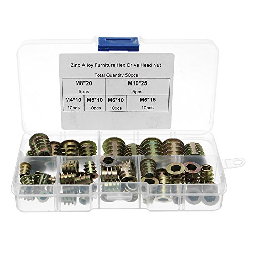 ChaRLes 50Pcs M4 bis M10 Zink-Legierung Holzmöbel Hex Socket Drive Gewinde INSERT Nut Sortiment Kit -