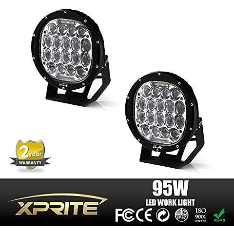 xprite 95W (CREE LED Niebla Foco y redondo lámpara de trabajo con DRL parachoques Barra de techo (2-Pack,