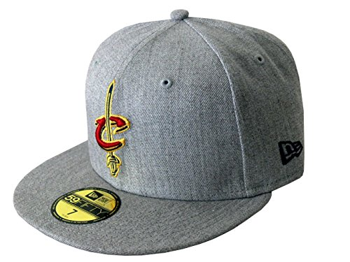NEW ERA Baseball Cap 59FIFTY Cleveland Cavaliers NBA Heather Fitted graphite Gr. (Cavalier Hut Erwachsene)