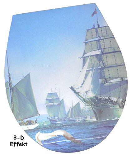 """3-D Effekt – Aufkleber – für Toilettendeckel / Klodeckel – """" Schiffe / Segelboote """" – WC Toilettensitzaufkleber / Sticker Bad – Sitz – Badezimmer – 3D Schiff – Folie Toilettensitz"""