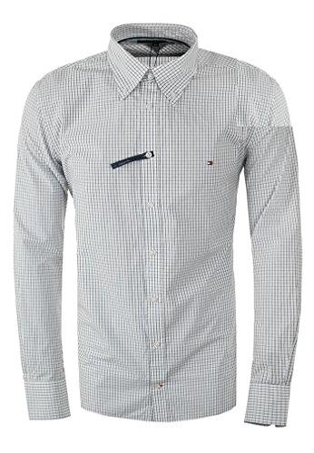 Tommy hilfiger custom-fit camicie (m, blu bianco)