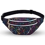 LIVACASA Waist Bag Fashion PU Leather for Women Man Metallic Shiny Bumbags Waterproof for Ladies Festival Fanny Pack Lightweight Hip Pouch Waist Travel Bag Belt Bags