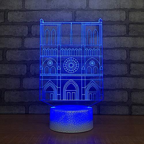 Qliyt 3D Led Usb Beleuchtung 7 Farbe Visuelle Villa Bau Modellierung Schreibtischlampe Dekoration Schlaf Nacht Leuchte Geschenk - Fernbedienung Und Touch