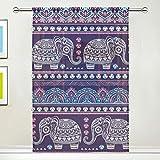 CPYang Voilage Voilage Ethnique Indien Animal Elephant Rideau de Fenêtre pour Salon Chambre Porte Cuisine 137 x 178 cm 1 Panneau, Tissu, Multicolore, 55 x 78 inch