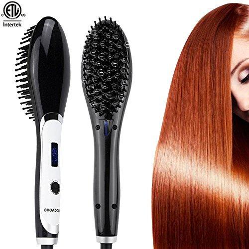 Broadcare spazzola termica lisciante piastra per capelli temperatura regolabile con display lcd - nera/bianca