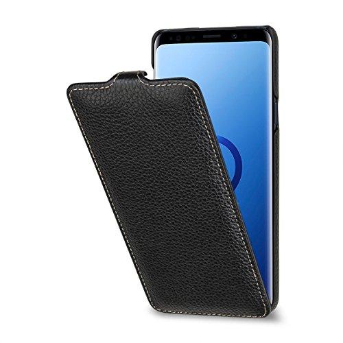 StilGut UltraSlim Case Hülle Leder-Tasche für Samsung Galaxy S9+ (S9plus). Dünnes Flip-Case Vertikal klappbar aus Echtleder für Das Samsung Galaxy S9+, Schwarz
