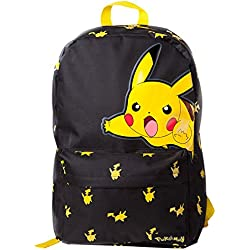 Bioworld POKEMON Big Pikachu Print Backpack Mochila tipo casual, 45 cm, 15 liters, Negro (Black)