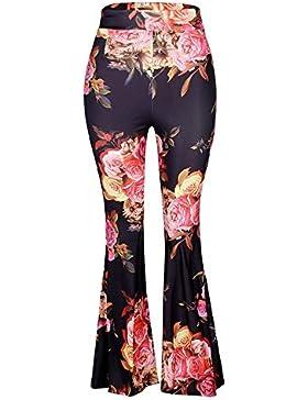 Golpear Los Pantalones Mujer Largos Elegante Primavera Otoño Patrón De Flores Vintage Joven Bastante Pantalones...