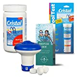 POOL Total Set MultiTabs Chlor 5 in 1 (20 g), Chlordosierer, Teststreifen Pflegefibel