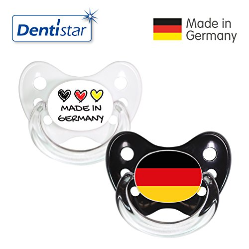 Dentistar® Silikon Schnuller 2er Set inkl. 2 Schutzkappen - Nuckel Größe 2, 6-14 Monate - Fussball Fan Kollektion – Made in Germany & Fahne