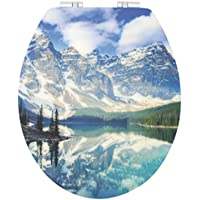 Sanwood 6099037 WC-Sitz ROCKY MOUNTAINS 3D faszinierende Tiefenwirkung, Reversed-Edge-Form, Absenkautomatik Soft-Close