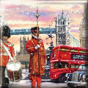 Lusso a tema art christmas cards (med5734) londra–confezione di 16carte–4design