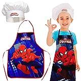 2 TLG. Set: Kinderschürze + Kochmütze -  Ultimate Spider-Man  - Größenverstellbar - fleckabweisend - Schürze / Jungen - beschichtet - Kochschürze / Grillsch..
