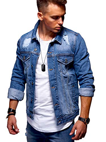 behype. Herren Jeans-Jacke Stretch Destroyed Übergangs-Jacke 55-0109 Dunkelblau M Stretch-jacke