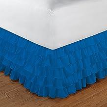300tc 100% algodón egipcio elegante acabado 1pieza Multi volantes cama sólida (Drop Longitud: 13cm), algodón, Turquoise Blue Solid, EU_Double
