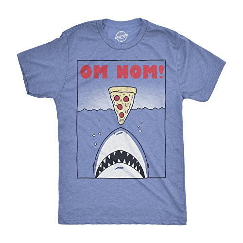 6f4b42420 Crazy Dog Tshirts - Mens Om Nom Jaws Tshirt Funny Pizza Shark Tee for Guys (