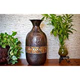 Malhar Handicraft Metal Flower Vase With Glass Decoration For Modern Home Decoration, Kitchen, Living Room, Drawing Room, And Gifting, 9.8 X 20.1 Inches - Amber