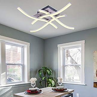 ALLOMN Plafoniera a LED, Lampada Lampadario Plafoniera dal Design Moderno e Curvo con 3 Luci Curve Per Soggiorno Camera da letto Sala da Pranzo 18W