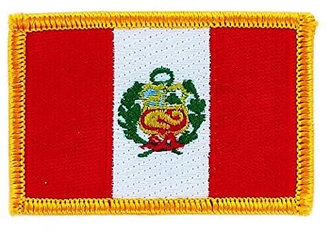 Patch écusson brodé drapeau pérou peruvien thermocollant insigne backpack