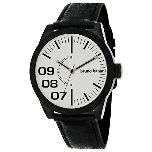 Bruno Banani BR26111W–Armbanduhr Herren, Lederband schwarz