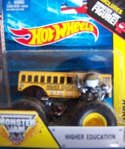 Higher Education School Bus #19 Hot Wheels Off-Road Monster Jam 2014 Includes Monster Truck Jam Mini Figure 1:64 Scale by Monster Jam