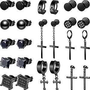 12 Paare Edelstahl Kreuz Ohrringe Kreuz Baumeln Creolen Ohrringe Huggie Tropfen Ohrringe Scharniert Creolen Ohrringe für Männer und Damen
