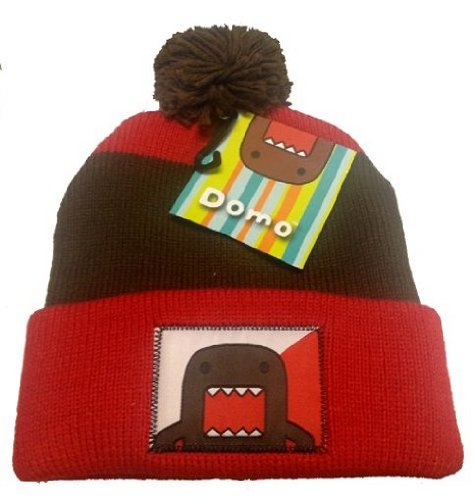 (Domo Japanese Cartoon Red & Brown Stripe Cuff Pom Pom Cap Hat Beanie Fits Most)