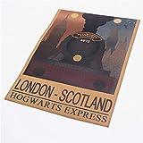 Harry Potter Vintage Film Kraft Papier Affiche Poudlard Express Londres Écosse Peinture Sticker Mural Ftd 42.5x30.5cm