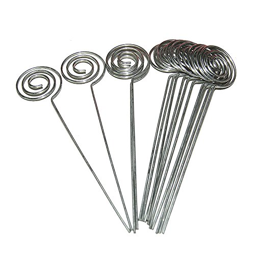 TOOGOO 50 / Pack Platz Kartenhalter Pick, Ring Schleife Swirl Draht Clip Foto Metall Clamp fuer DIY Handwerk & Geschenkartikel, Memo Halter (Silber)