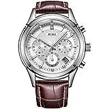 BUREI Casual reloj cronógrafo para hombre elegante, Reloj de pulsera de cuarzo lujoso para empresas, Calendario de fecha, correa de cuero genuino marrón (plata)