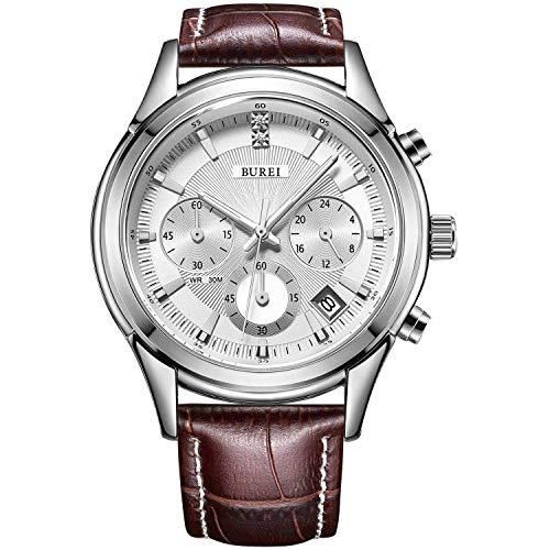 BUREI montre décontracté élégant montre de chronographe pour homme Business Luxe montre à quartz avec date Calendrier et sangle de cuir véritable (Blanc+ Marron)