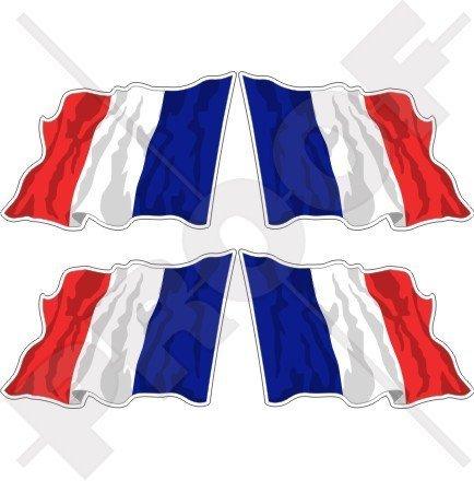 FRANKREICH Französisch Wehende Flagge Française 50mm Auto & Motorrad Aufkleber, x4 Vinyl Stickers (Links - Rechts) -