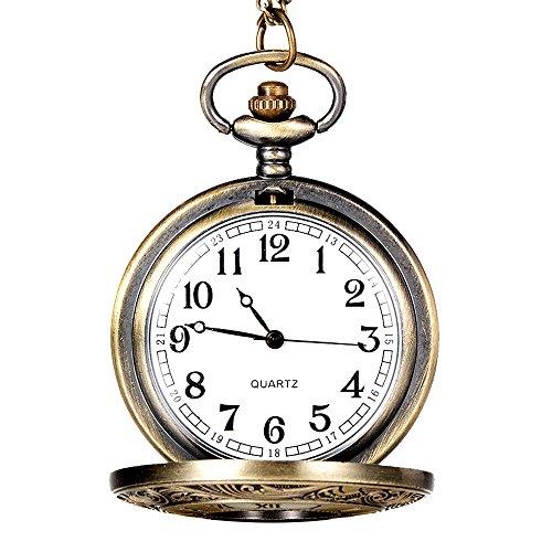 MYQyiyi Hombre Mujer Reloj de Bolsillo Hueco Vintage Tono de la Vendimia (D)