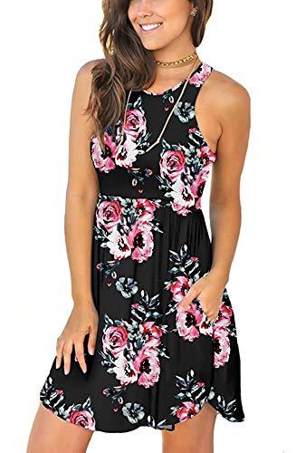 PCEAIIH Damen ärmelloses Loses Kleid mit Taschen Gr. X-Large, Print Black Petite Spandex Jersey