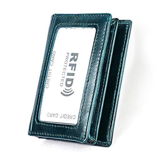 Lussebaby Brieftasche Coin Schlüssel Beutel Geldbeutel Geldbörsen Portmonee Antimagnetisches RFID-Visitenkartenpaket Aus Leder Für Die Diebstahlsicherung Von Männern Und Frauen, Blau
