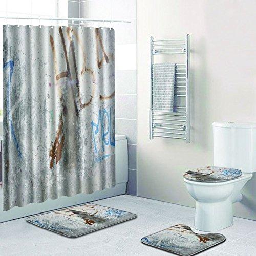 Zhrui Bad Duschvorhang Waschbar Grau Waschbar und Bad Teppiche 4 Stück Bad Teppich Drei Stück Anti-Rutsch