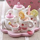 DishyKooker Ein Geburtstagsgeschenk f¨¹r EIN Kind Kinder simulieren h?lzernen Erdbeer Nachmittagstee Spielhaus Tee-Set Lernspielzeug
