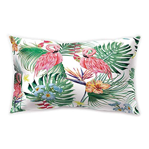 Blakww Tropical Style Rectangle Cushion Cover Flamingo Butterfly Green Plant Leaf Printing Double-Sided Soft Plush Pillowcase 30 x 20 inhces
