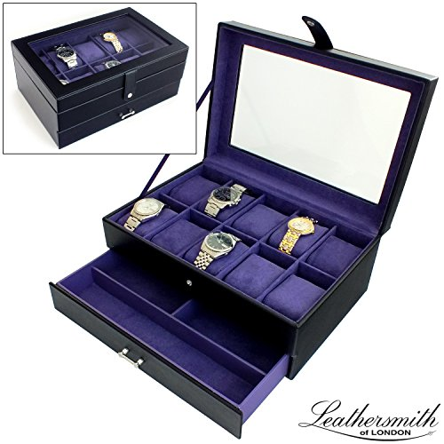 leathersmith-of-londonr-gents-genuine-black-bonded-leather-10-watch-box-display-case-with-purple-int