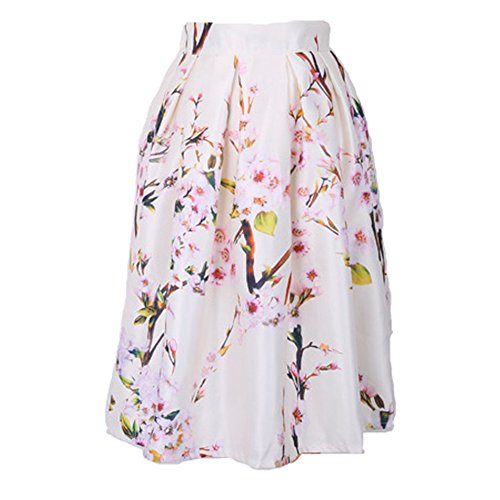 Cintura Alta Falda para Mujeres - Moda Floral Impreso Swing Midi Skirt con Cremallera Retro Casual Verano Primavera Faldas Tallas Grandes