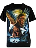Mens Eagle Wolf Biker Native American Indian People Moon Motorbike T Shirt (M, Design 3)