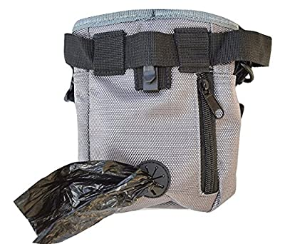 Dog Treat Pouch with Waste Bags Dispenser, FurryFido Dog Training Pouch with Extra Long Waist Belt and Over Shoulder Strap, Carries Treats, Toys, Keys etc. ( One Training Clicker)