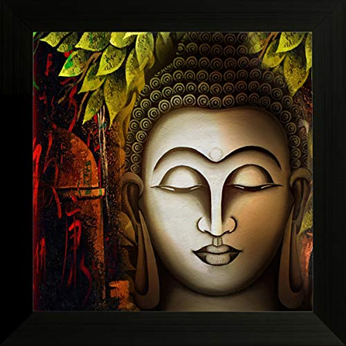 SAF UV Textured Religious Buddha Synthetic Frame Painting (14 inch x 14 inch)