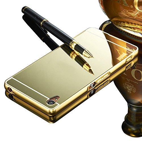 Vandot Aluminio del Metal Carcasa Protectora Protector Funda para Sony Xperia M5 [FUSION MIRROR] reflexión brillante Radiante de lujo Espejo [Protección gota / Tecnología de absorción de impactos] Bumper case - Oro
